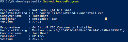 Get-AddRemoveProgramExample1